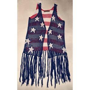 Jackets & Blazers - Vintage American Flag Crochet Fringe Vest